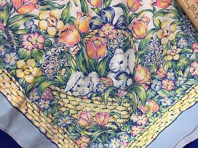 """Table Cloth Easter Spring Oval 100"""" x 54"""" Bunny Basket Flowers Tulips Eggs Blue"""