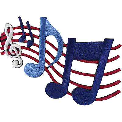 Music Notes Patch Iron Sew On Embroidered Badge Musical Sheet Clothing Applique