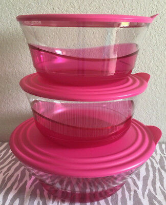 Tupperware Acrylic Preludio Serving Bowls Set Of 3 Sheer w/ Pink 13, 9 Cups New