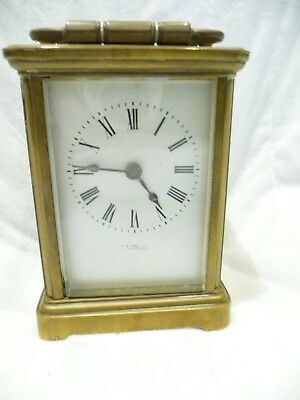 Antique carriage Clock In working Order For Restoration/Repair 5 Bevelled Glass.