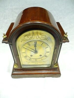 Antique French Bracket Clock Mahogany 1900'S Jappy Freres Good Working Order