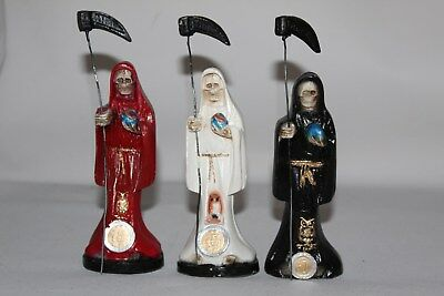 "SET #46 SANTA MUERTE 3 pzas STATUES LADY 6"" RED-BLACK-WHITE RITUALIZADAS"
