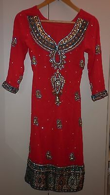 Vintage Exotic Red Jewelled Tunic  Size Small  Exc- Condition