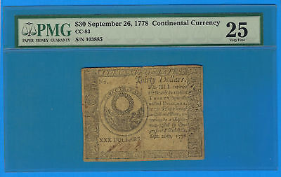 September 26 1778 $30 US Continental Currency Note CC-83 PMG 25 Very Fine
