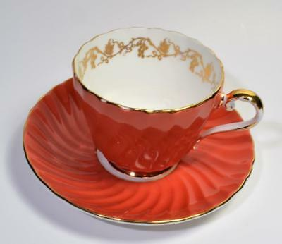 60s AYNSLEY Bone China England Coral Gold GRAPES #15531 Set Tea Cup & Saucer