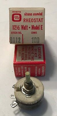 OHMITE 100 OHM 12-1/2 WATT RHEOSTAT resistor- New in Box