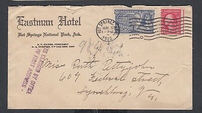 Usa 1922/4 Eastman Hotel Special Delivery Cover Postcard & Letter Hot Springs Ak