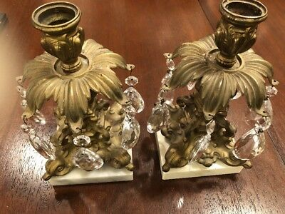 "Pair Of Brass Candelabras Candle Holders Marble Base Crystal Prisms 8 1/4"" Tall"