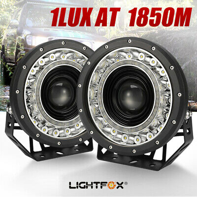 2X 9 inch CREE SPOT LED Driving Lights DRL Round 4x4 Spotlights BLACK 12V 24V