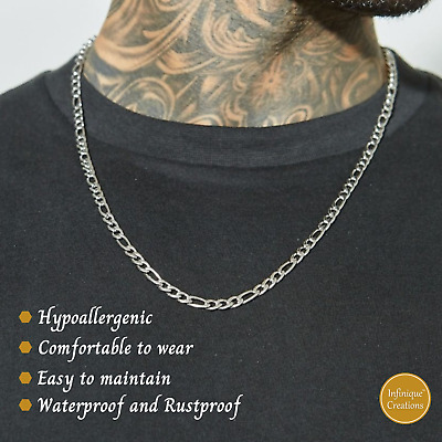White Gold Stainless Steel Figaro Link Chain Necklace 3mm~12mm
