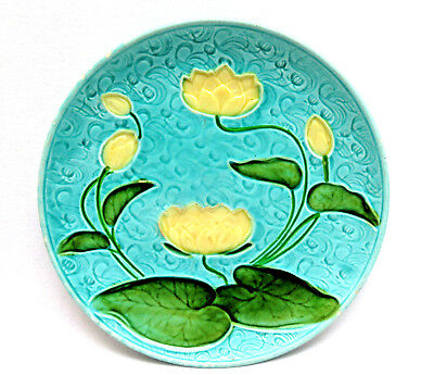 Schramberg Germany Turquoise Water Lily Waterlilies Majolica Pottery Plate