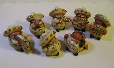 VINTAGE MARIACHI BAND CHALKWARE FIGURINES Little Cuties,3 Inch SET OF 7 as is