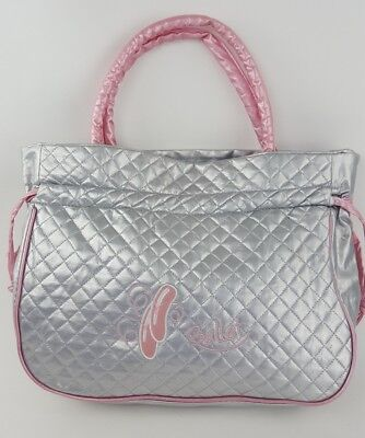 Horizon Dance Silver Pink Quilted Ballet Bag For Girls EUC