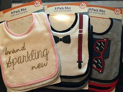 INFANT GIRL & BOYS 3 PACK OF BIBS 0+ NEW IN PACKAGE by SWIGGLES SOFT & DURABLE