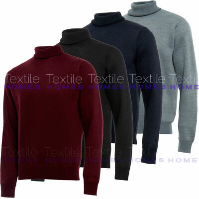 Mens Roll Turtle Polo Funnel Neck Jumper Smart Fine Knitted Sweater Top Warm
