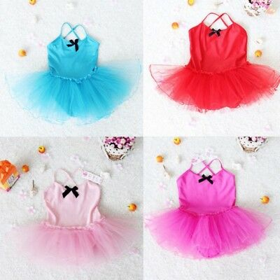 Toddler Girl Kid Ballet Dance Dress Chiffon Leotard Tutu Dress Costume 2-7Y