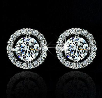 Elegant Gold Silver Rose Circle Crystal Rhinestone Stud Charm Earrings Jewellery