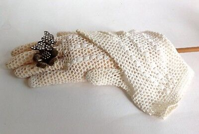 Vintage 1950s Ivory Crocheted Fish Net Stocking Gloves Size 6.5 To 7 Approx