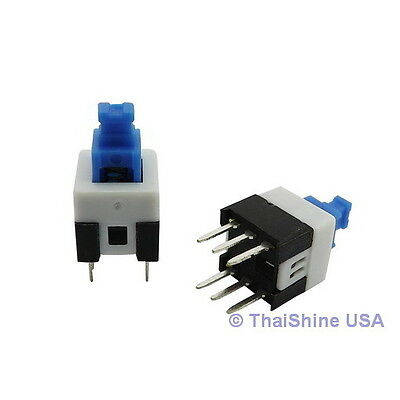15 x Push Button Switch Latching DPDT 0.5A 50VDC 8x8mm USA SELLER Free Shipping