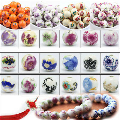 10/20Pcs 12mm Flower Printed Round Ceramic Porcelain Loose Beads Jewelry Finding