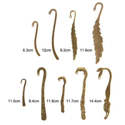 9Pcs Vintage Metal Alloy Bronze Bookmark Document Creative Book Label Gift CR037