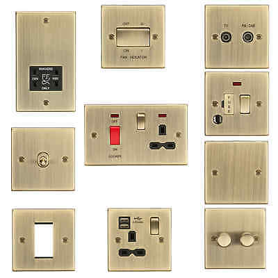 Rounded Edge Antique Brass Socket Switch USB Spur Dimmer Wiring Accessories
