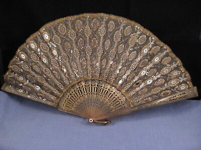 BEAUTIFUL ANTIQUE GEORGIAN LADIES OPERA HAND FAN EARLY 1800s STEEL AND HORN