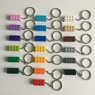 New Lego Brick Keyring Birthday Gift Wedding Kids Party Keychain 19 Colours Key