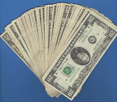 (1) FEDERAL RESERVE TWENTY DOLLAR BILL..OLD CURRENCY..SMALL HEADS..$20...1980's