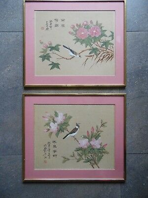 Pr Chinese Ink W/C Silk Paintings, Birds of Blossom Branches. Signed