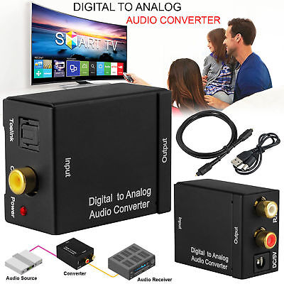 Digital to Analogue audio Converter Coaxial Coax Optical Toslink RCA L/R Adapter