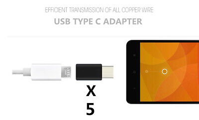 5 Pcs USB Type C Adapter 3.0 Male to Micro USB 2.0  Female OTG Data Charger