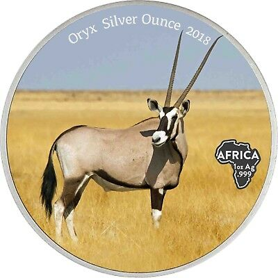 Afrika Serie Ghana 5 Cedis 2018 Antique Finish - Oryx - Silver Ounce in Farbe
