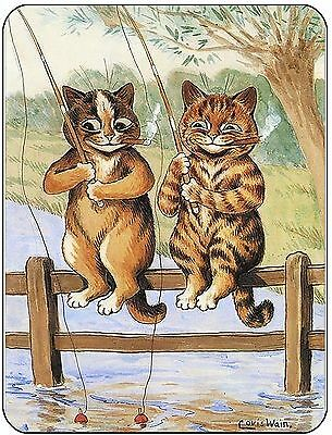 Louis Wain Fishing Cats Mouse Mat, mousepad,