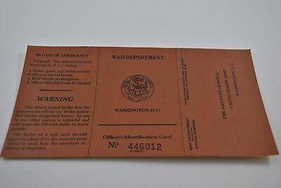 Nos Officers Identification Card Wwii Issue Date 1941 Us War Department