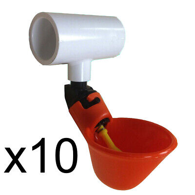 """(10) Automatic Waterer Drinker Cups & 1/2"""" Pvc Tee Fittings Chicken Poultry Coop"""