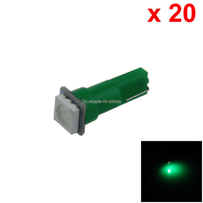 20x Green Auto T5 Side Bulb Marker Light 1 Emitters 5050 SMD LED 74 79 85 B001
