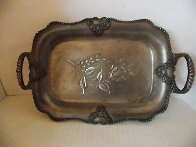 Vintage Silver tray Rockford footed 1875 Silverplated rose Etched bottom