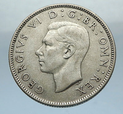 1945 United Kingdom Great Britain GEORGE VI Silver Florin 2Shillings Coin i66837