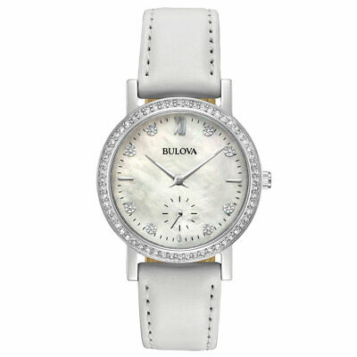 Bulova 96L245 Womens Crystal Mother of Pearl Dial White Band Watch