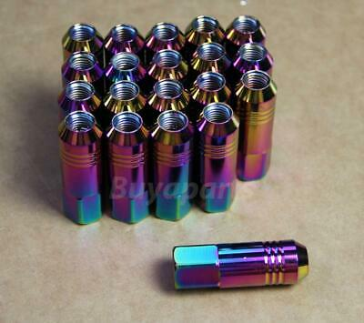 20x NEO CHROME 60MM ALUMINUM OPEN END M12X1.25 EXTENDED LUG NUTS SET FOR NISSAN