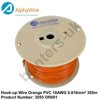 ALPHA WIRE 18AWG 0.816mm² 300V Hook-up Lead Wire Orange PVC 305m ...