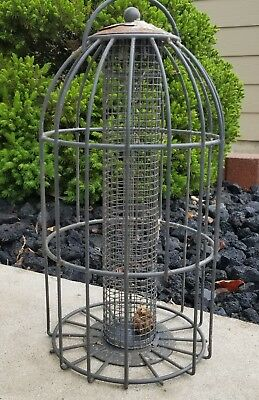 GENUINE ANTIQUE Metal Corncob Wild Bird Feeder Birdfeeder Cage Squirrel Guard