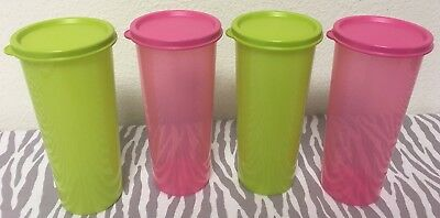 Tupperware Straight Sided Tumblers Set of Four 16oz Red New