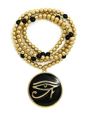 "Egypt Eye of Heru Round Pendant 6mm 30"" CCB Bead Hip Hop Necklace RC2934G"