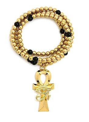 "Egypt Eye of Heru Ankh Pendant 6mm 30"" CCB Bead Hip Hop Necklace RC2935"