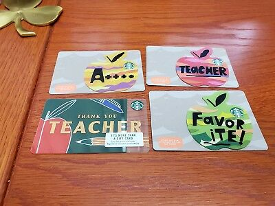 4 Starbucks 2018 Thank You Teacher 🍎Gift Card Set Apple Die Cut Lot  6152 US