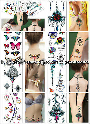 Women Butterfly Temporary Body Chest Waist Art Tattoo Sticker Choker Pendant