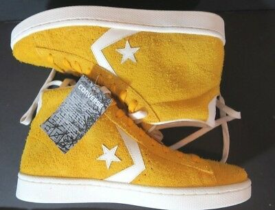 a89db431fa7d2d Converse Pro Leather 76 Mid Suede Yellow Egret 155339C Mens 9.5 Women 11