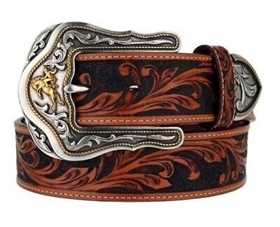 Tony Lama Western Mens Belt Leather Brown Star Conchos Ranger C41264